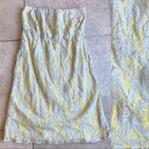 NEW GLAM Yellow Lace Strapless Dress